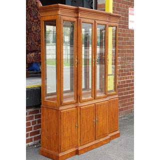 1990s Drexel Heritage Yorkshire Collection Yew Wood Dining Room China Cabinet Breakfront Preview