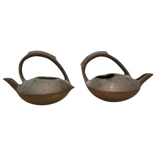 Anne Hirondelle Contemporary Glazed Ceramic Teapots - a Pair