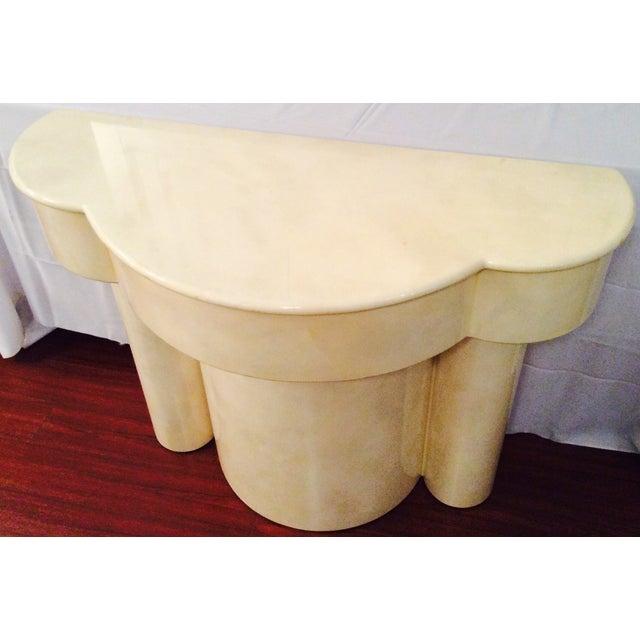 Vintage 1970s Faux Parchment Console Table - Image 9 of 11