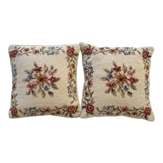 1990s Vintage Needlepoint Pillows - a Pair For Sale