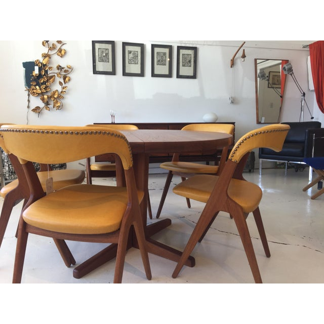 Gold Mid-Century Modern Teak Dining Table/Chairs Set For Sale - Image 8 of 11