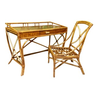 Mid Century Bamboo Desk and Chair For Sale