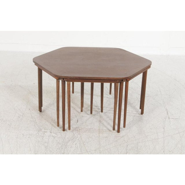 Brown Vintage Mid-Century Danish Modern Rosewood Nesting Coffee Table - 7 Pieces For Sale - Image 8 of 8