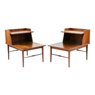 1970s Vintage Mid-Century Walnut Nightstands - a Pair For Sale