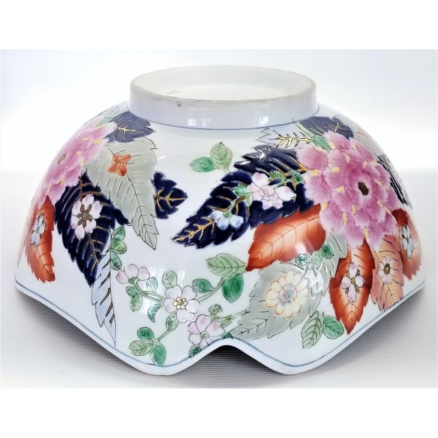 Large Chinese Porcelain Tobacco Leaf Bowl With Gold Trim - Feng Shui - Asian Palm Beach Boho Chic Flowers Peony Tropical Coastal For Sale - Image 10 of 13
