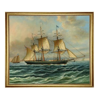 Baltimore Clipper Architect Framed Oil Painting Print on Canvas in Antiqued Gold Frame For Sale
