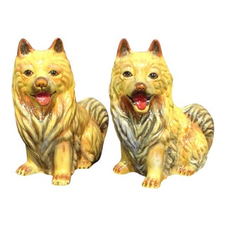 Vintage Ceramic Lacquered Dog Figurines - a Pair For Sale