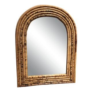 Boho Chic Petite Rattan Wall Mirror For Sale