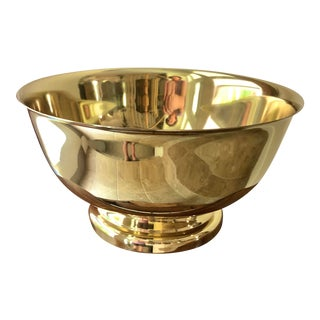 Baldwin Revere Polished Brass Pedestal Bowl For Sale