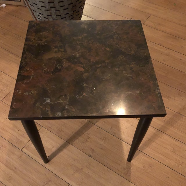 1970s Traditional Faux Marble Side Table Chairish