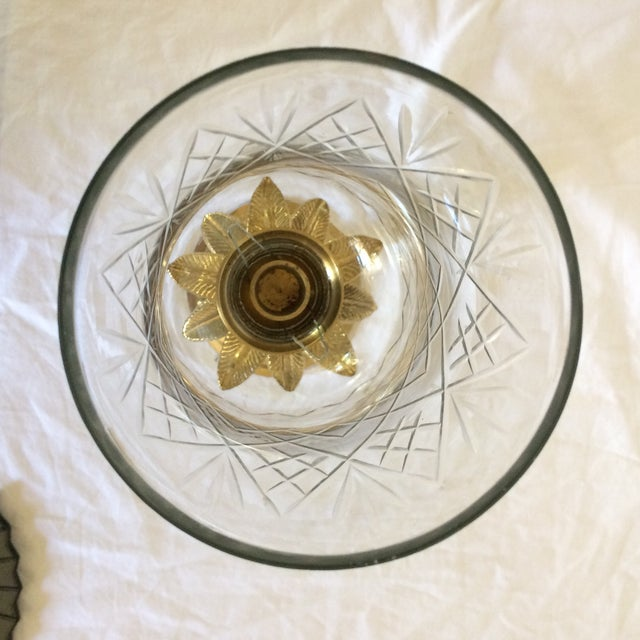 Vintage Etched Crystal & Brass Pineapple Design Candle Holders - a Pair - Image 7 of 11