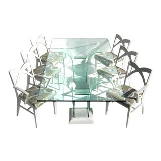 Modernage Glass Dining Table With Chairs For Sale