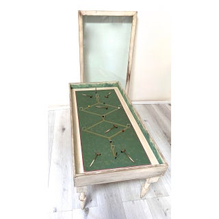 Vintage White Washed Croquet Coffee Table With Glass Top Preview