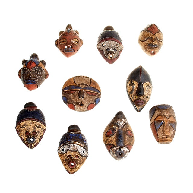 African Tribal Handmade Clay Masks - Set of 10 - Image 1 of 4
