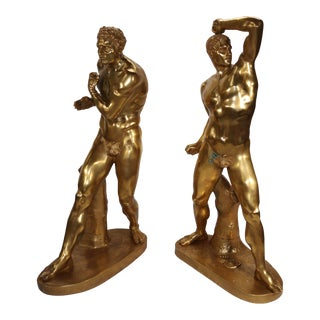20th Century Hollywood Regency Gilt Statues of Bronze Wrestlers - a Pair For Sale