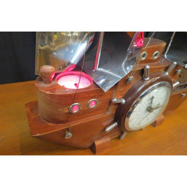 Mid-Century Modern 1960 Vintage Mid Century Modern Sailing Ship Clock and Light For Sale - Image 3 of 7