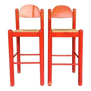 1960s Mid-Century Modern Cassina Style Red Cane Seat Bar Stools - a Pair For Sale