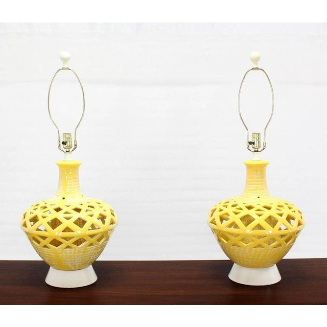 Pair of Pierced Yellow Glaze Pottery Mid-Century Modern Lamps For Sale - Image 10 of 10