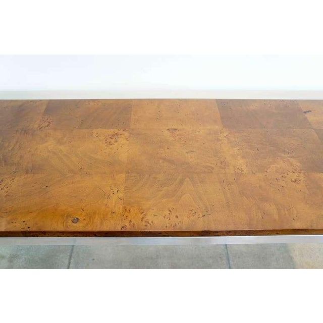 Burled Walnut & Aluminum Console For Sale In Los Angeles - Image 6 of 8