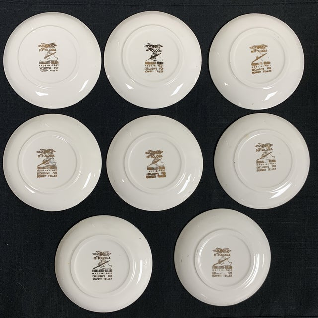 Fornasetti 20th Century Italian Fornasetti Coasters Small Plates - Set of 8 For Sale - Image 4 of 9