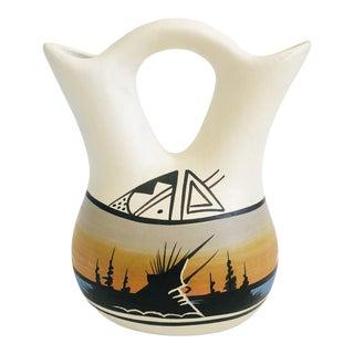 Vintage Southwestern Pueblo Pottery Wedding Vase For Sale