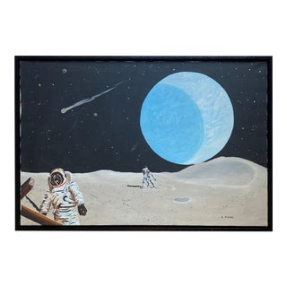 Contemporary Moons of Jupiter Astronaut Oil Painting by R. Home For Sale