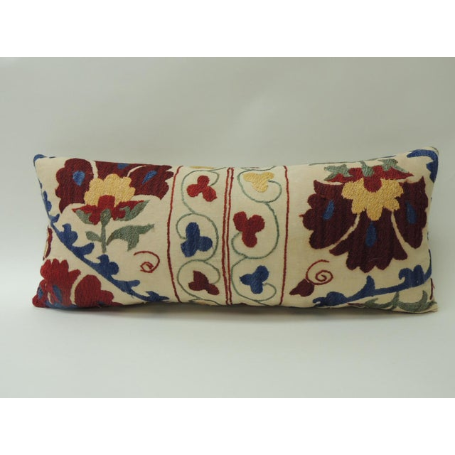 "Vintage Colorful Floral Embroidery ""Suzani"" Decorative Bolster Pillow For Sale In Miami - Image 6 of 6"
