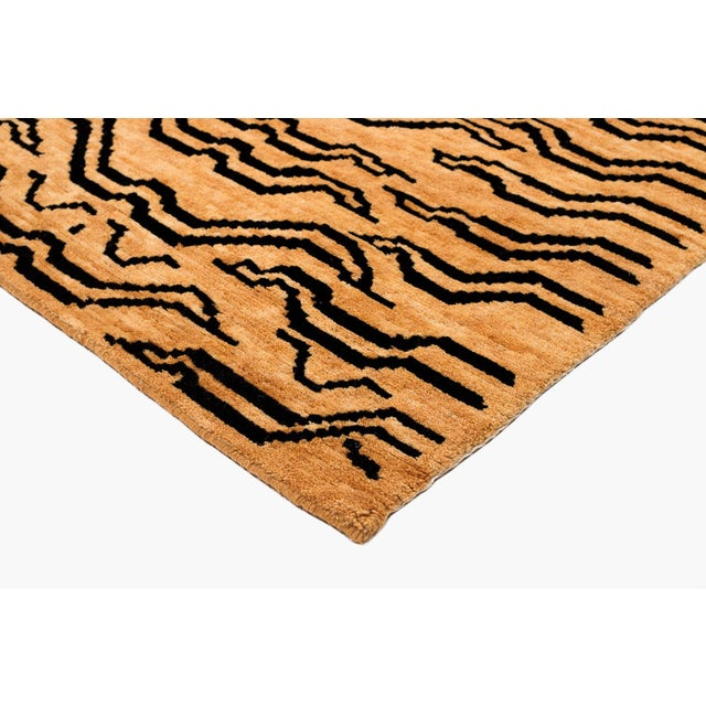Black and Golden Tan Wool Tibetan Tiger Area Rug-3′ × 6′ For Sale In New York - Image 6 of 7