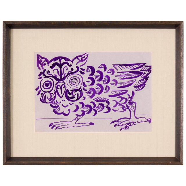 Purple Owl Painting by Phillip Callahan - Image 1 of 5