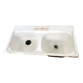Vintage Kohler Porcelain/Cast Iron Double Kitchen Sink For Sale