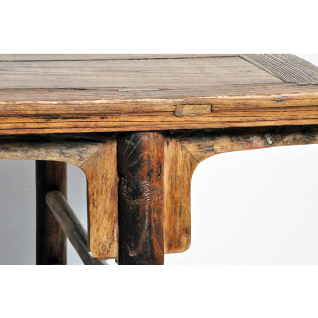 Tan Chinese Painting Table with Round Legs For Sale - Image 8 of 13