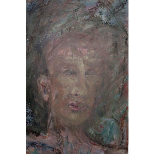 A moody portrait of a man by bay area artist Daniel David Fuentes (aka, Xavier Lunt) (American, 1978-2016). From a...