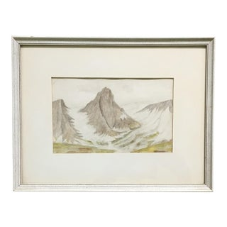 Framed Mountain Landscape Watercolor Painting