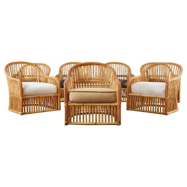 Set of Eight Michael Taylor Organic Modern Bamboo Lounge Chairs For Sale - Image 13 of 13