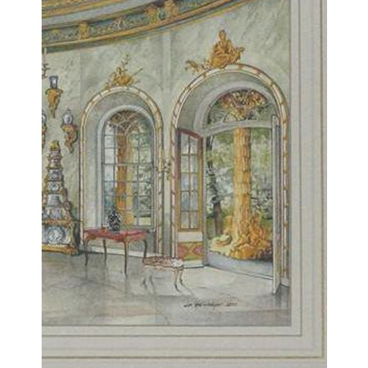 Charming interior watercolour plate signed Jim Steinmeyer & dated 2000 in a coral mat w/ gilt bamboo frame!