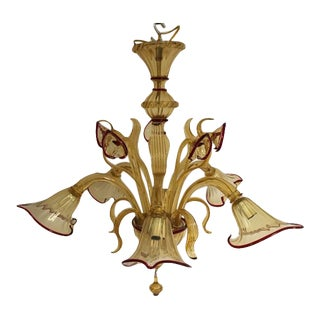 Vintage Amber & Red Trim Lily Style Murano Chandelier For Sale