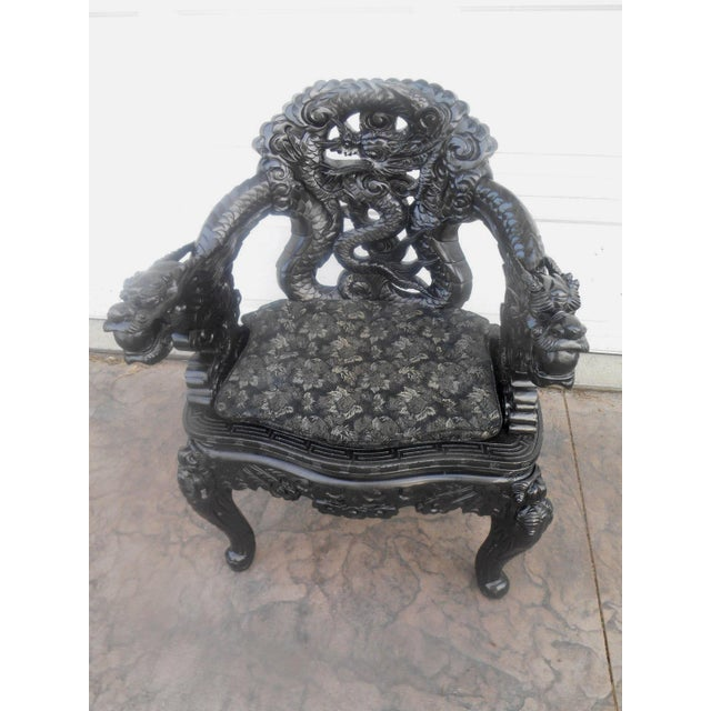 Wood 20th Century Chinese Wood Carved Dragon Throne Armchair For Sale - Image 7 of 10