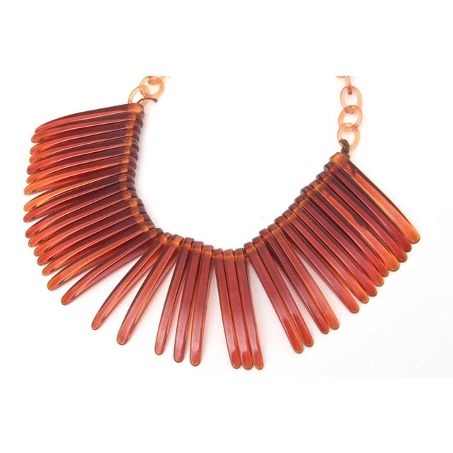 Resin Vintage Tortoise Resin Fringe Collar Bib Necklace For Sale - Image 7 of 11