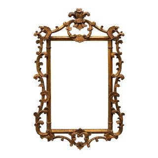 Vintage Wooden Mirror Frame in Golden Bronze Color For Sale