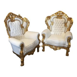 White Leather Tufted Throne Chairs - A Pair For Sale