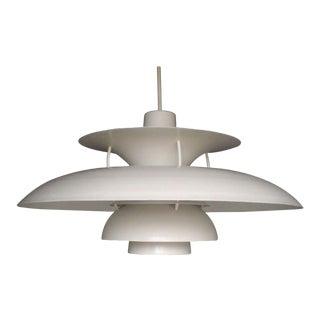 Monumental Poulson Ph5 Style Spun Aluminum Hanging Lamp For Sale