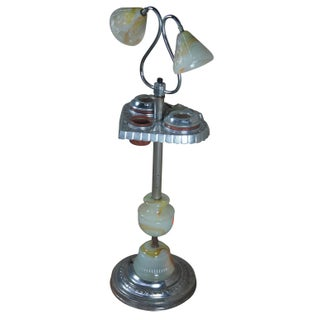 1940s Late Art Deco Slag Glass Smoking Stand Floor Lamp Side Table Ashtray Light Preview