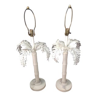 1960s Regency White Palm Lamps - a Pair For Sale