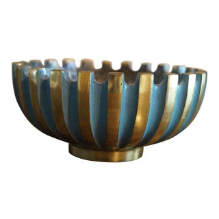 1950s Turquoise and Gold Mid Century Pal Bell Sculptural Ridged Ashtray For Sale