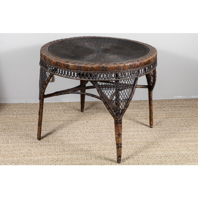 Black Victorian Wicker Round Side Table For Sale - Image 8 of 11