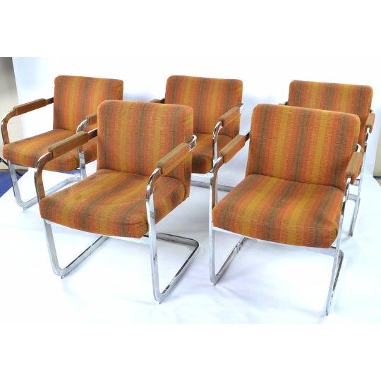 Milo Baughman Thayer Coggins Chrome Armchairs- Set of 5 - Image 2 of 5