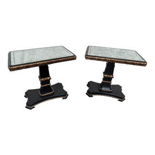 Pair of Regency Style Eglomise Top End Tables For Sale