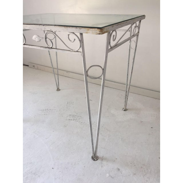 1970s C.1970 Apartment Size Wrought Iron Glass Top Table For Sale - Image 5 of 7