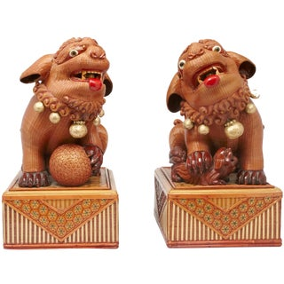 Pair of Mid-Century Chinese Foo Dog Boxes For Sale