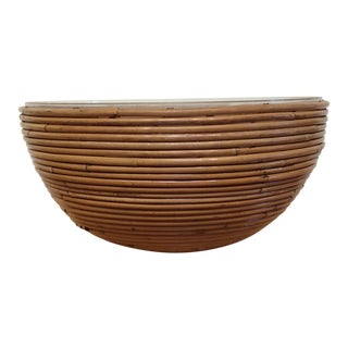 1970s Vintage Mid-Century Modern Rattan Pencil Reed Bowl For Sale